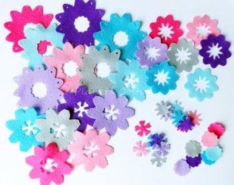 Felt Flower Shapes, 42 pieces, Felt crafts, felt supplies, felt flower, felt flower for headbands, hairclips supplies, felt die cut, cut out