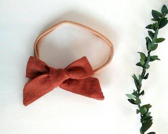 Girl's burnt orange linen rust hair bow clip girls vintage modern