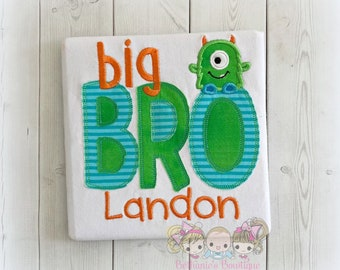 Big brother monster themed shirt- personalized big brother shirt - embroidered big bro shirt - green monster shirt- brother to be