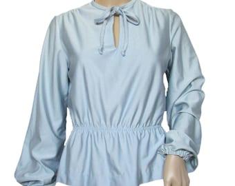 Vintage Peplum Blouse // Vintage Peasant Blouse // Vintage 70s Blouse // Nylon Blouse // Medium