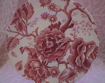 Johnson Brothers English Chippendale Bread and Butter Plate ~~ Red/Pink Transferware ~~ Johnson Brothers Dishes #103232