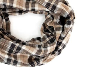 Brown Plaid Infinity Scarf, Flannel Scarf, Plaid Scarf Clothing Gift Wife Brown Scarf Tartan Plaid Scarf, Outdoors Gift Beauty Gift for Her
