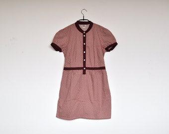 Vintage Small Abstract Pattern Cotton Short Sleeve Summer Shirt Dress