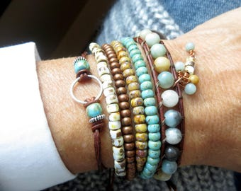 Stackable Bracelets Set, Leather Wrap Bracelets for Women, Mothers Day Gift for Mom Birthday Gifts for Her, Bohemian Bracelet Stack, Boho