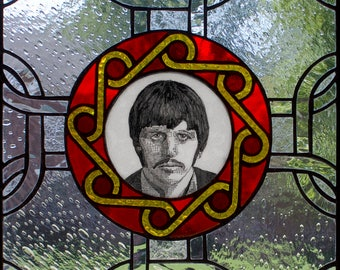 one of a kind stained glass window featuring Ringo Starr.