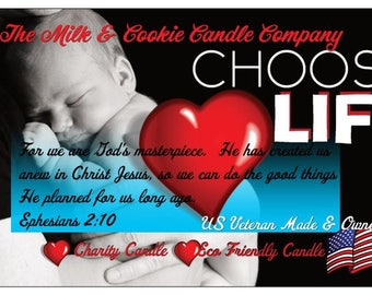 Choose Life Pro Life Candle Charity Candle Assorted Scents and Sizes