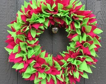 Christmas Wreath - Holiday Wreath - Pink and Green Wreath - Felt Wreath - Jingle Bell Wreath - Winter Wreath - Bright Wreath - Door Wreath