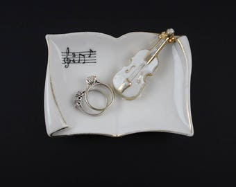 Vintage Porcelain Violin Trinket Dish - Sheet Music Instrument Porcelain Vanity Tray Ring Holder