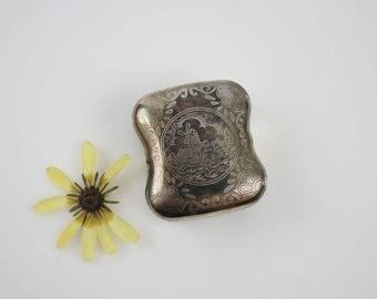 Vintage Silverplate Windmill Snuff Box - Small Tobacco Box - Gifts for Him Trinket Storage Box
