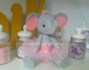Cute Elephant Ballerina plush /  softie/ nursery decor/ babyroom decor/ felt animal decoration