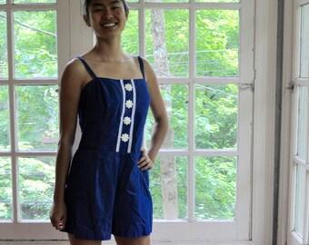 Sweet Women's Romper Play Suit/Vintage 1960s/Vintage 1960s/Royal Blue Cotton & White Daisy Trim/Women's One Piece Bathing Suit/S M