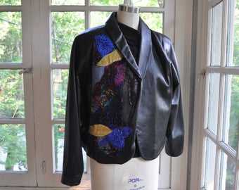 New Wave Black Leather Patchwork Jacket and Sweater Set/Vintage 1980s 1990s/Flashy Bat Wing Jacket/Applique Patchwork Jacket/Size Medium