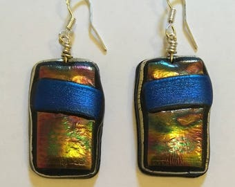 Bright petrol and midnight blue earrings