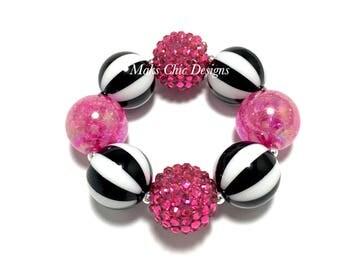 Toddler or Girls Chunky Bracelet - Hot Pink, Black and White Striped chunky bracelet - Bubblegum chunky bracelet - Pirate Chunky Bracelet