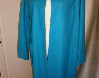 """Vintage Felt Wool """"Sample"""" Coat in a great shade of Turquoise Blue felt fabric, with great lines, design and tailoring in Vintage Condition"""