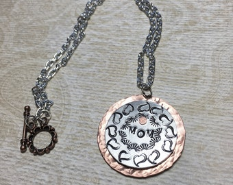 Hand Stamped Jewelry, MOM, Stamped MOM Pendant, Stamped Hearts