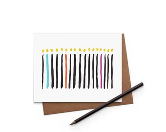 Birthday Card - Candles - Greeting Card - Digitally Printed A2 Cards w/ envelope