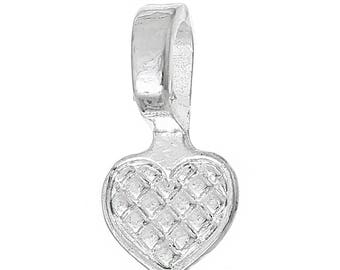 10 Heart Bails - Silver Plated - WHOLESALE - Glue On - 16x8mm  - Ships IMMEDIATELY from California - B1248