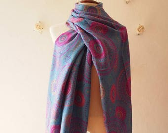 Mid Year SALE Boho Scarf Blue Pink Yellow Hipster Hippie Winter Summer Scarf Bohemian Style Scarf Presley Traditional Artisan Style