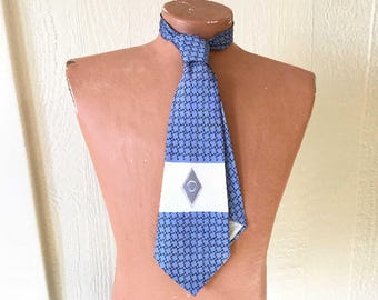 SALE Vintage Mens Monogram O Silk Tie 1940s 1950s Blue White Blue Mens Gift