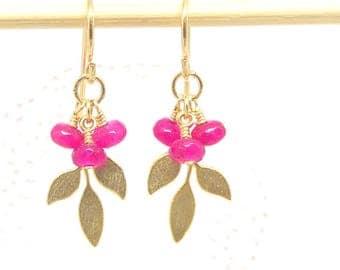Gold Woodland Earrings, Gold Leaf Earrings, Ruby Gold Leaf Earrings, Woodland Leaf with Ruby Earrings