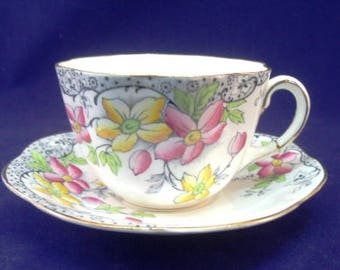 Delicate Taylor & Kent Cup and Saucer, Floral, English Bone China