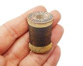 Brown Cotton Reel Tailor Dress Maker Sewing Cross Stitcher Brooch Pin Badge Jewellery Gift For Her Stocking Filler Jewellery Accessories