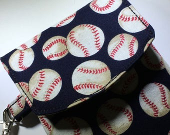 Baseball Phone Wallet Wristlet Gift for Her Under 30 Lined Handbag Travel Zipper Pocket Gifts for Teens Girls Fan Mom Stocking Stuffer