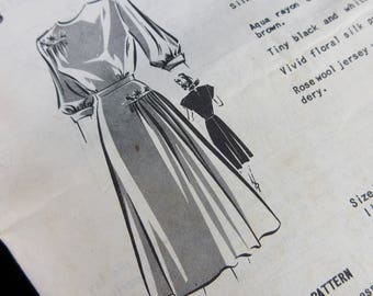 Vintage 1940s Sewing Pattern, Dress, Mail Order 8263