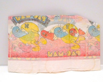 Vintage Pac Man Tablecover 1980s Tablecloth Birthday Retro Party Old School Arcade Game Enemy Ghost Monsters Blue Fickle Dot Red Eating