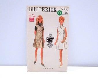 Wrap Dress or Jumper Vintage Butterick 5000 Sewing pattern 1960s Size 14 Bust 36 Easy Minimalist Mod Sundress Hipster Plattermatter