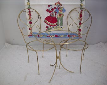 Vintage Doll House Metal Ice Cream Parlor Set Table 2 Chairs or Plant Holder