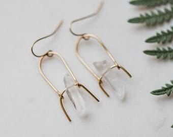 The Quartz Earring. Quartz earrings. Dangle earrings. Minimalist earrings. Drop earrings. Gemstone Earrings.