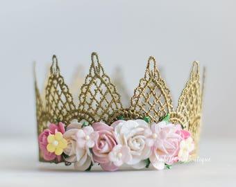 Gold Yellow White Pink Newborn Crown Royalty Newborn Tiara Newborn Photo Prop Photo Prop