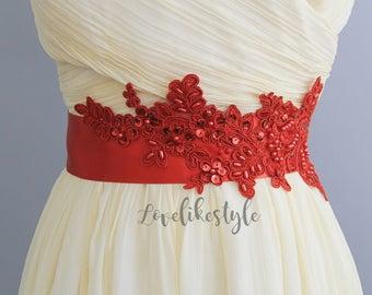 Red Beaded Lace Sash, Bridal Sash, Bridesmaid Sash, Red Sash,Flower Girl Red Sash Belt / SH-66