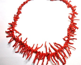 Red Coral Vintage Necklace-Coral Necklace