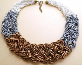 Retro Wide White Silver Gray Gold Bronze Bead Braid Collar Necklace F47