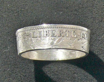 Silver 1888 France 1 Franc coin ring featuring  Liberty,Fraternity and Equality, Ring Size 6 1/2 and Double Sided