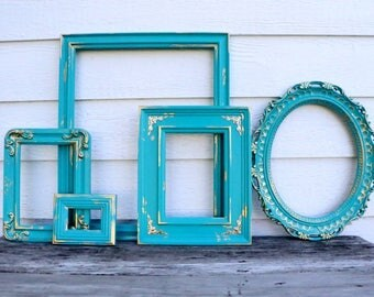 Set of 5 Open Frames - Deep Teal - Turquoise - Gold and Turquoise - Scatter Frames - Vintage Frame Set - Gallery Wall -  Gold Decor