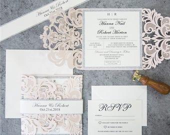 Invitation kit etsy diy invitation kit blush and silver glitter laser cut invites for wedding blush wedding solutioingenieria Gallery