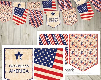 Independence Day 4th July Bunting Stars and Stripes vintage USA Garland America American flag Instant Download  statue of liberty printable
