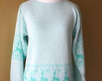 Clearance Sale Vintage Little Girls Dancing Deer Novelty Sweater
