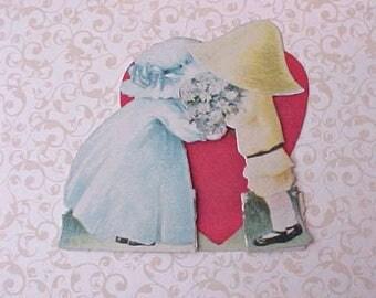 Darling Antique Sunbonnet Babies Valentine Card