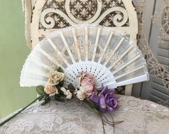 Very Pretty Embroidered White Hand Fan with Ivory Colored Embroidery