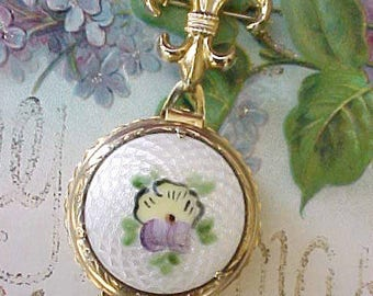 Lovely Vintage Coro Locket Brooch with Guilloche Enamel and Hand Painted Pansy