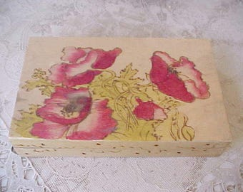 Beautiful Antique Pyragraphy Wooden Box with Poppy Design
