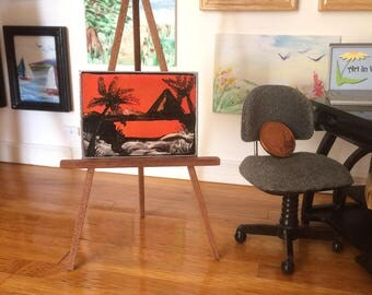 Miniature Original Art Sunset Pyramid Painting  by miniature artist hazel rayfield shown here on display in my own  1:12th scale art gallery