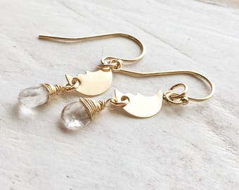 Celestial Crescent Moon with Moonstone Earrings, In 14K Gold Filled, Gift for her, Gift, Everyday Wear, Delicate Jewelry