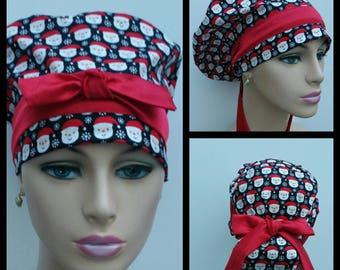 Handmade Woman Medical Scrub Hat - Santas  Selfies - Navy Blue - 100 % cotton