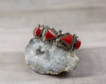 Vintage 1940's Coral Red Resin Sterling Silver Ace Guadalajara Mexico